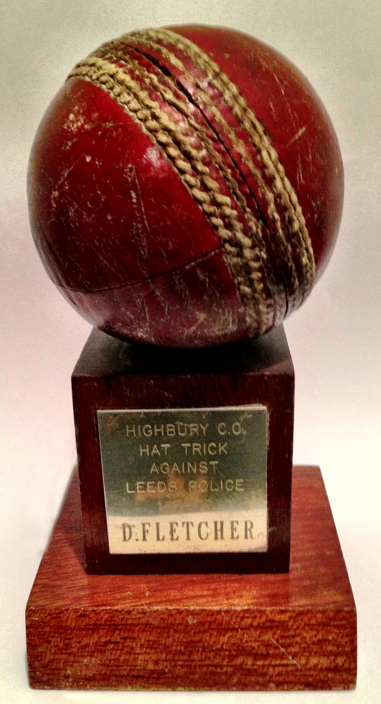 Hat Trick Ball Trophy. Against Leeds Police 1977.